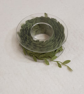 Leaf Embellishment Ribbon 30mm- Light Green (100cm length) - Lori's Fabrics & Quilts
