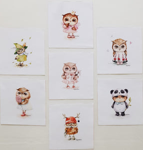 Assorted Owl Prints on Cream (7pc - 22cm² each) - Lori's Fabrics & Quilts