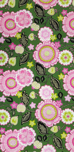 Large Flowers on Green Fabric (100x150cm) - Lori's Fabrics & Quilts
