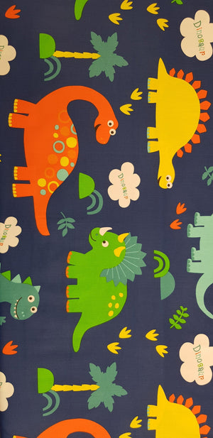 Large Bright Dinosaurs on Blue (100x160cm) - Lori's Fabrics & Quilts