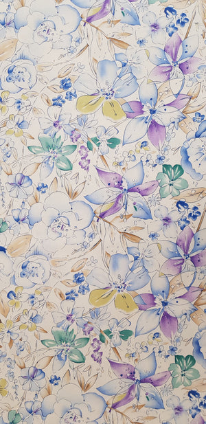 Purple & Blue Floral Fabric (100x150cm) - Lori's Fabrics & Quilts