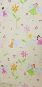 Fairies & Flowers on Pale Green Fabric (100x150cm) - Lori's Fabrics & Quilts