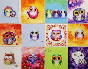 Assorted Owl Prints (12pc - 20cm² each) - Lori's Fabrics & Quilts