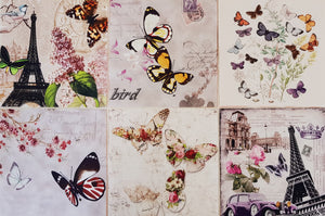 Assorted Butterfly Prints on Beige (6pc - 16cm² each) - Lori's Fabrics & Quilts
