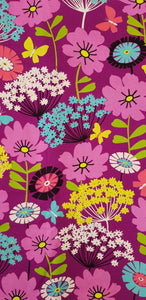Flowers & Butterflies on Purple Fabric (100x150cm) - Lori's Fabrics & Quilts