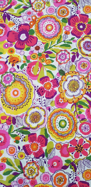 Vibrant Florals on White (150x50cm) - Lori's Fabrics & Quilts