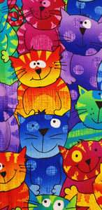 Bright Cartoon Cats (100x110cm) - Lori's Fabrics & Quilts