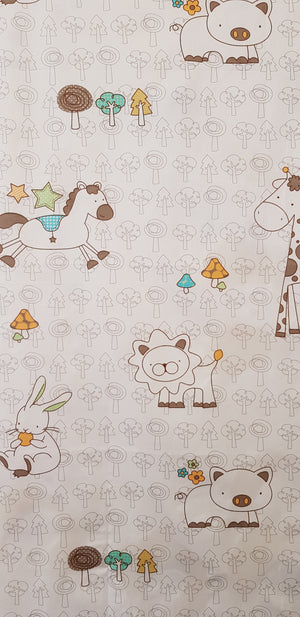 Cartoon Animal Drawings on Ivory (100x160cm) - Lori's Fabrics & Quilts