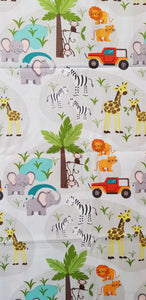 Jungle Animal Safari on Light Grey (104x112cm) - Lori's Fabrics & Quilts