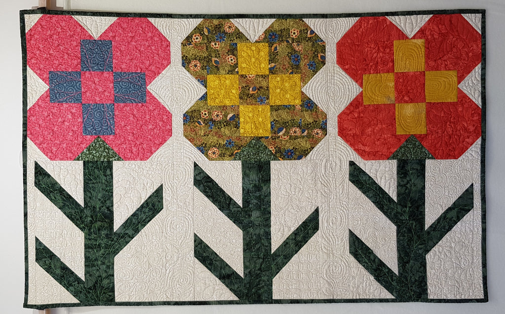 Patchwork Flowers Wallhanging - Custom Quilted (115x73cm) - Lori's Fabrics & Quilts