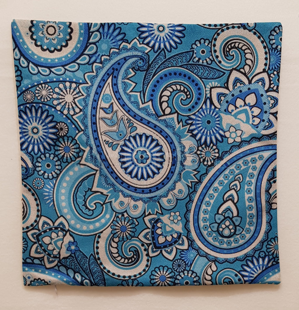Teal & Cream Paisley Pillow Case (43cm²) - Lori's Fabrics & Quilts