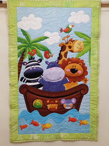 Jungle Animals at Sea Cot Panel - Custom Quilted (69x106cm) - Lori's Fabrics & Quilts