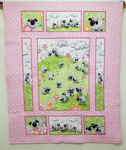 Sheep Cot Panel on Pink - Custom Quilted (104x86cm) - Lori's Fabrics & Quilts
