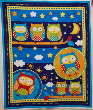 Owls on Dark Blue Panel (106x90cm) - Lori's Fabrics & Quilts