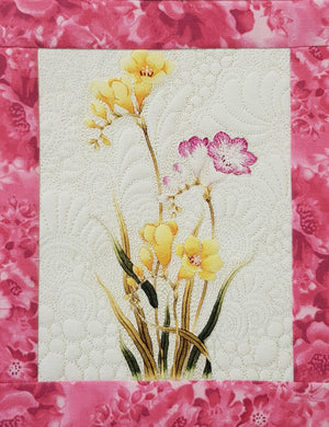 Watercolour floral wallhanging - 55cm wide x 64cm tall - Lori's Fabrics & Quilts