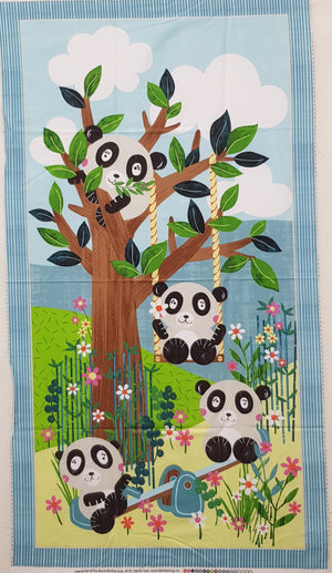 "Panda Park Bear Play - Aqua Panel (24"" x 44"") - Lori's Fabrics & Quilts"