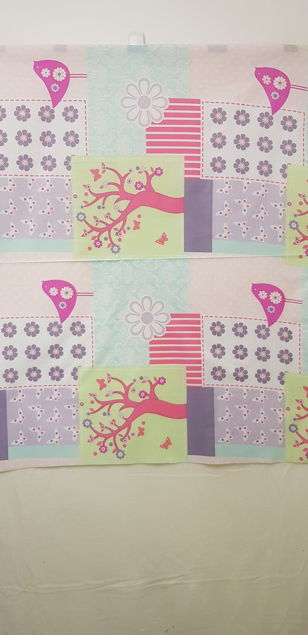 Girls Butterflies & Floral Fabric (2pc - 106x120cm & 106x59cm) - Lori's Fabrics & Quilts