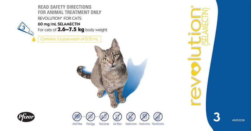 Revolution - Flea and Worming Treatment for Cats (Blue) 3 Pack