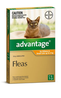 Advantage - Flea Treatment for Kittens & Small Cats <4kg (Orange) 4 Pack