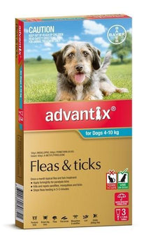 Advantix - Flea and Tick Treatment for Dogs 4kg - 10kg (Aqua) 6 Pack