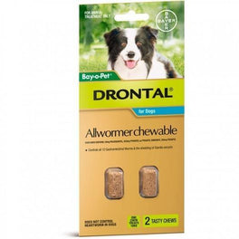 Drontal - Chewable Intestinal Wormer for Medium Dogs 2 Pack