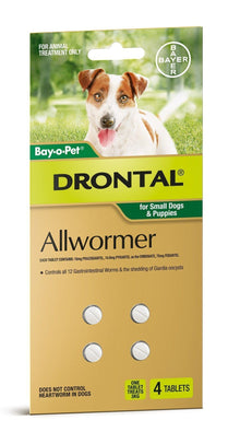 Drontal - Allwormer for Small dogs and puppies - 4 Pack
