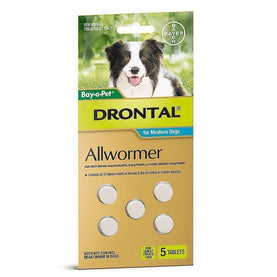 Drontal - Allwormer for Dogs upto 10kg - 5 Pack