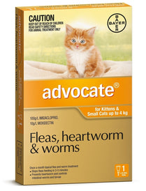 Advocate - Flea and Worm Treatment for Kittens & Small cats <4kg (Orange) 3 Pack