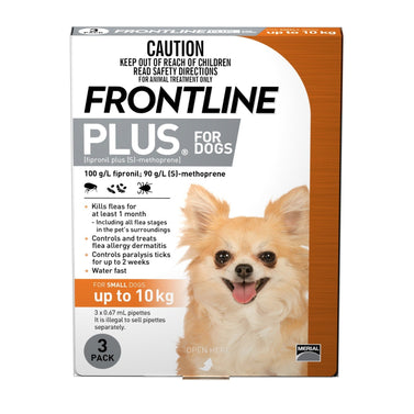 Frontline Plus - Flea Treatment for Dogs <10kg 3 Pack