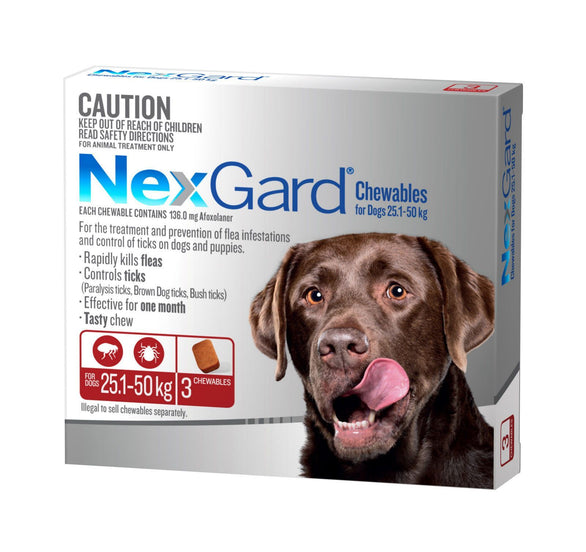 Nexgard Chew for Dog's - 25.1-50kg (Red)