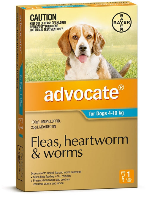 Advocate - Flea and Worm Treatment for Dogs 4kg - 10kg (Aqua) 1 Pack