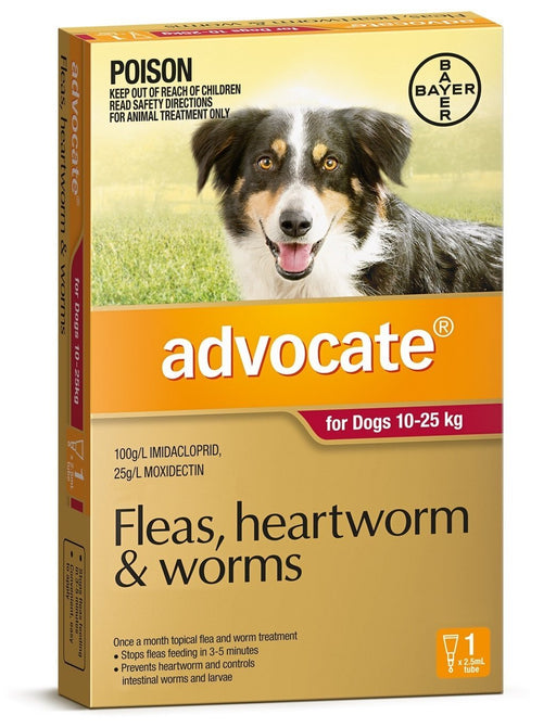 Advocate - Flea and Worm Treatment for Dogs 10kg - 25kg (Red) 1Pack
