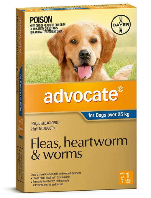 Advocate - Flea and Worm Treatment for Dogs 25kg+ (Blue) 1 Pack