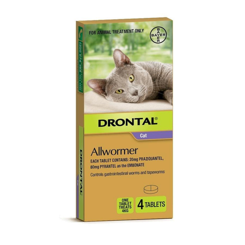 Drontal Ellipsoid Allwormer for Cats and Kittens 4kg 4 pack