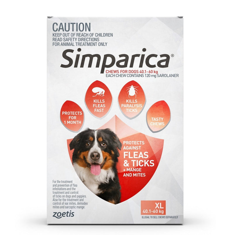 Simparica for Dogs 40.1-60Kg (Red)