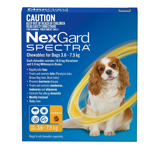 Nexgard Spectra For Dog's - 3.6-7.5Kg (Yellow)