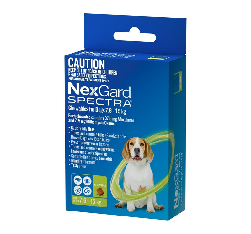 Nexgard Spectra For Dog's - 7.6 -15Kg (Green)