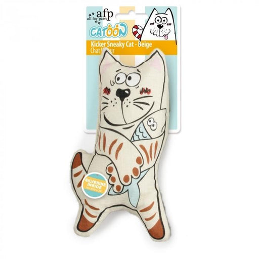 All For Paws (AFP) Catoon Kicker Sneaky Cat Beige