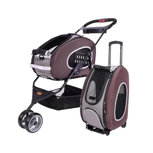 5-in-1 Combo EVA Brown Pet Carrier-Stroller (Luxury package)