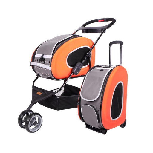 5-in-1 Combo EVA Orange Pet Carrier-Stroller (Luxury package)