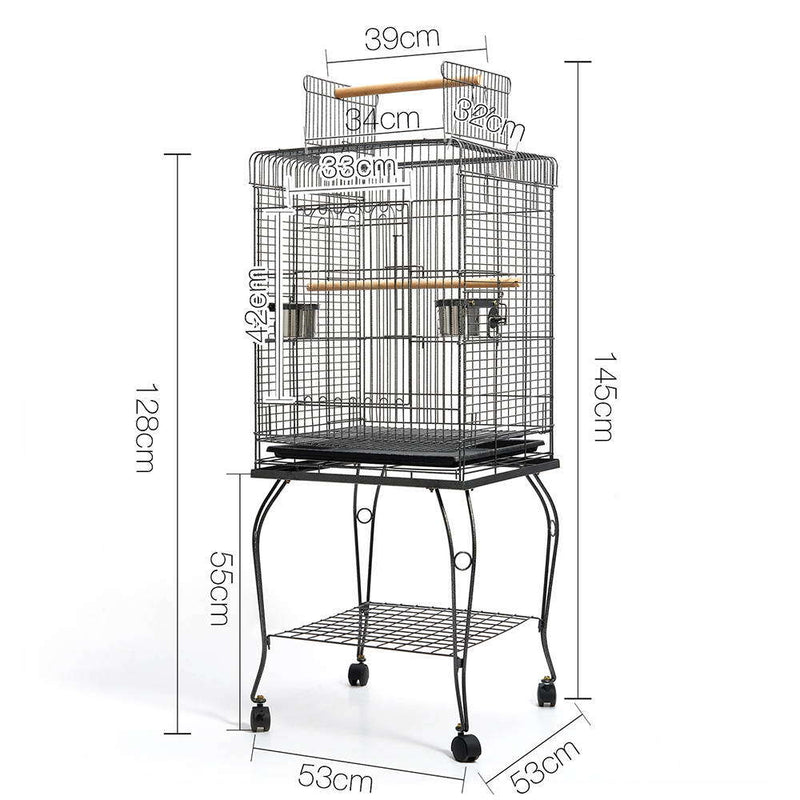 Pet Bird Cage with Stainless Steel Feeders
