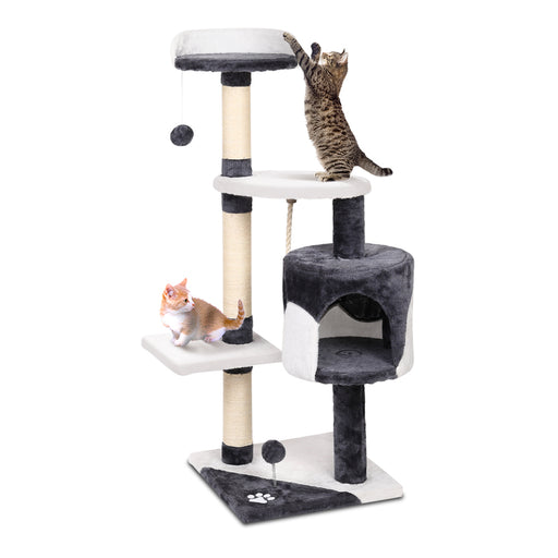 112cm Deluxe Cat Scratching Tree - White & Grey