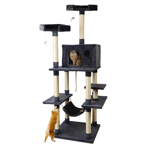 184cm Deluxe Cat Scratching Tree - Grey