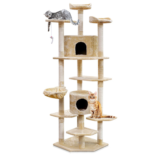 203cm Deluxe Cat Scratching Tree - Beige