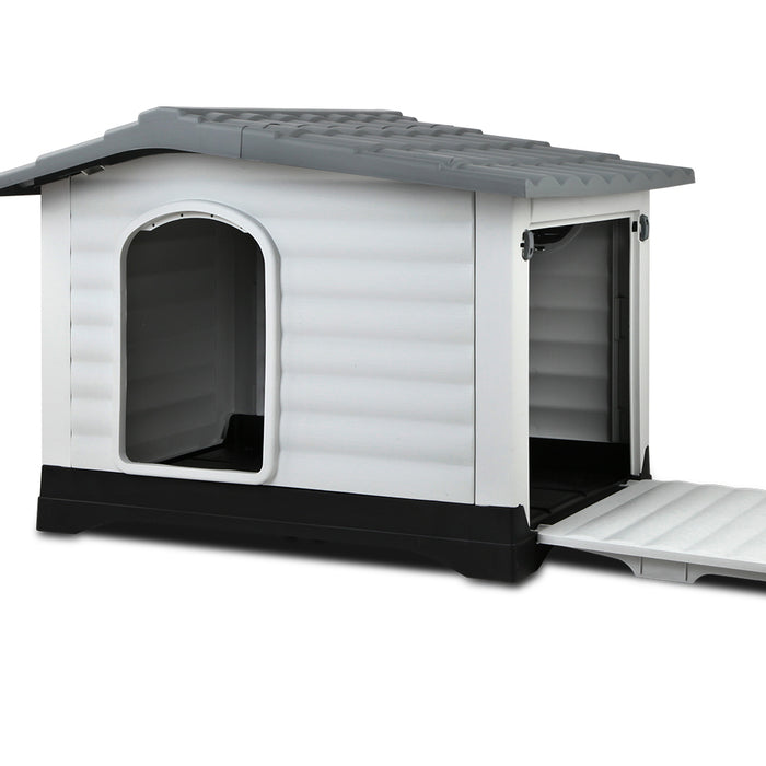 Weatherproof Plastic Pet Kennel - Grey