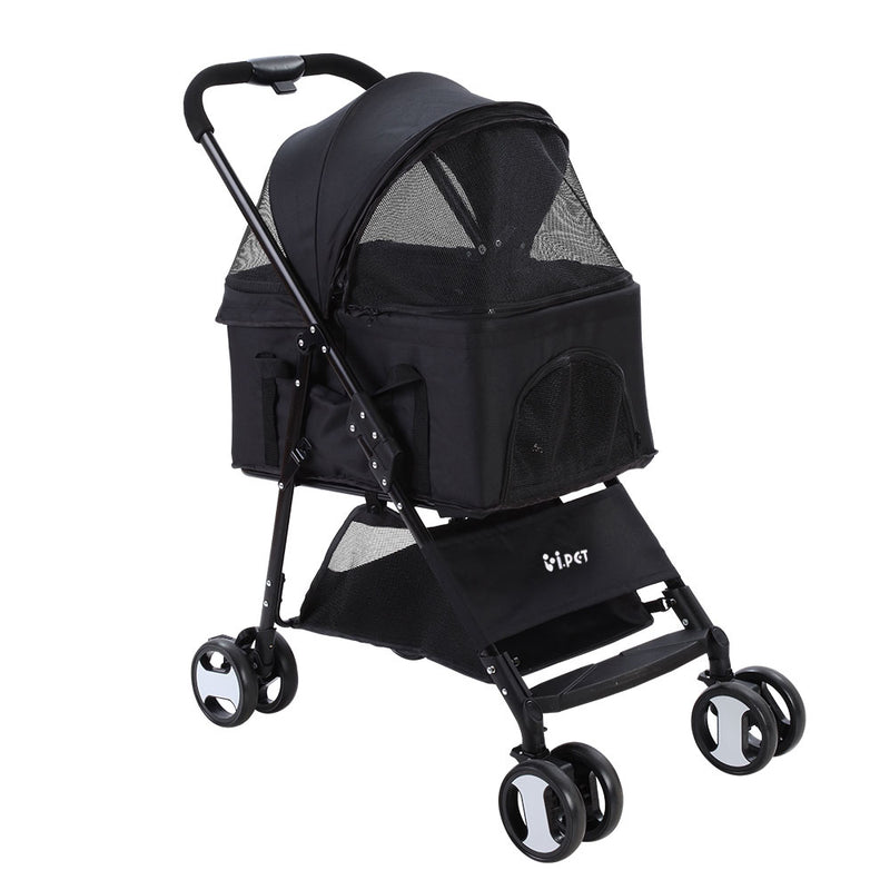 3 in 1 Pet Stroller-Pram 4 Wheel - Black