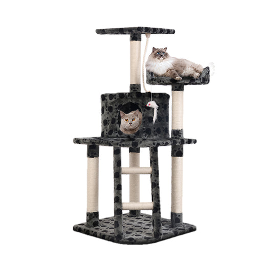120cm Deluxe Cat Scratching Tree - Grey & Black