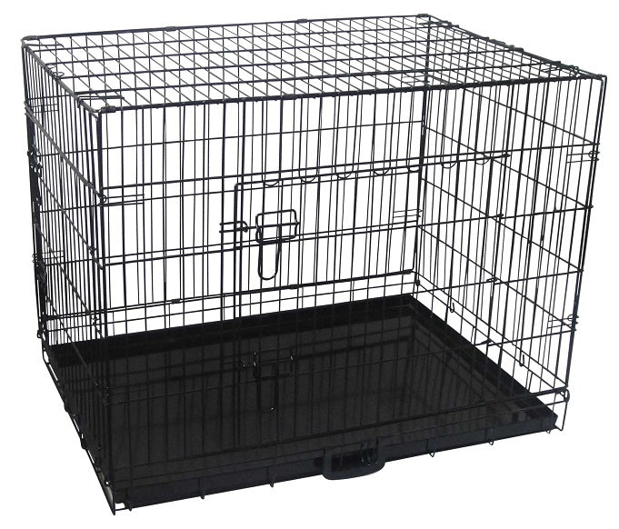 Pet Collapsible Cage-Crate + Cover (Black) - 36in (91.44cm)