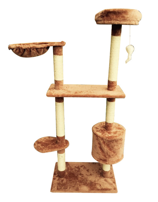 122cm Deluxe Cat Scratching Tree - Light Brown