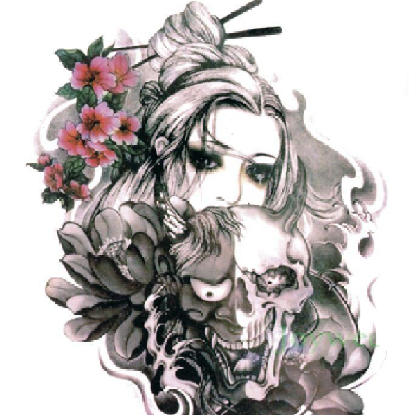 Skull Girl Temporary Tattoos